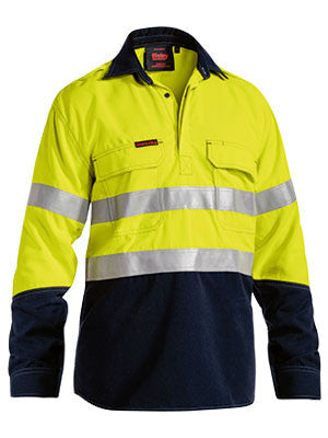 Bisley TenCate Tecasafe® Plus Taped Two Tone Hi Vis Closed Front FR Long Sleeve Vented Shirt #BSC8082T