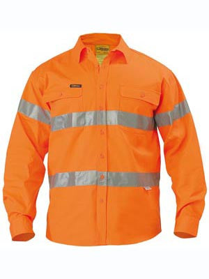 Bisley Hi Vis Taped Long Sleeve Drill Shirt