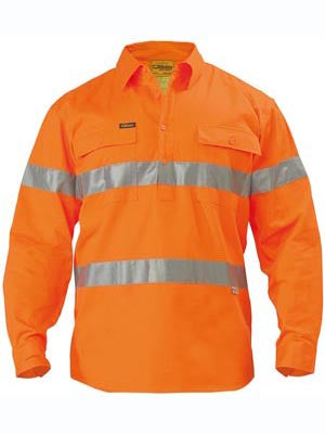 Bisley Hi Vis Taped Closed Front Drill Shirt