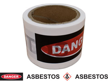 "Barrier Tape ""Danger Asbestos"" Red/Black/White 50m x 75mm TAPEDARW50X75"