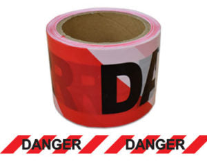 "Barrier Tape ""Danger"" 100m x 75mm (Red/Black/White) BTDRW100X75"