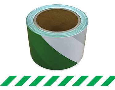 Barrier Tape Green/White 100m x 75mm (Green/White) BTGW100X75