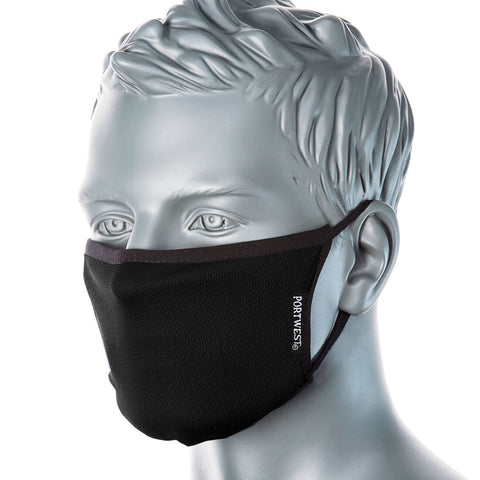 Portwest 3-Ply Anti-Microbial Fabric Face Mask CV33 (Black)