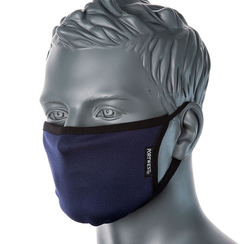 Portwest 3-Ply Anti-Microbial Fabric Face Mask CV33 (Navy)