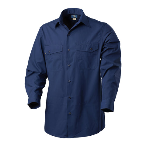 Tru Workwear Cool Performance L/S Cotton Rip Stop (Navy) DS1169