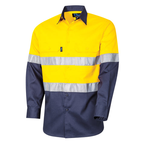 Tru Workwear L/S Cotton Drill Shirt c/w 3M Two Hoop Reflective Tape # DS2118T1