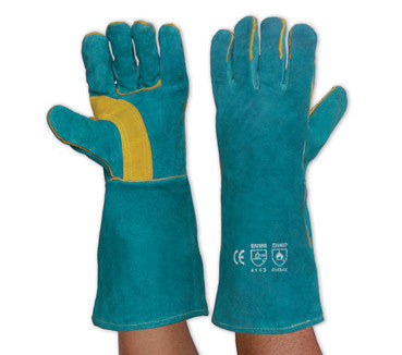 Pro Choice PyroMate South Paw Left Hand Pair Green/Gold Kevlar Glove LGW16E