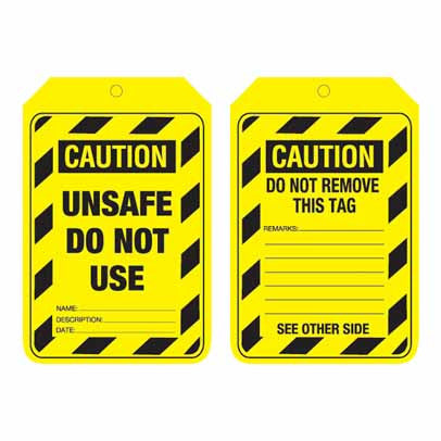 Lockout Tag Code UCT 204 - Caution Unsafe Do Not Use