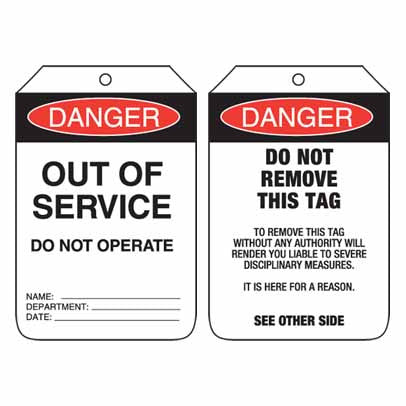 Lockout Tag Code UDT102 - Danger Out Of Service