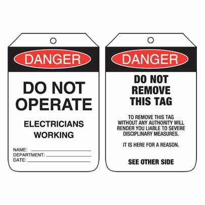 Lockout Tag Code UDT103 - Danger Do Not Operate Electricians Working
