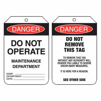 Lockout Tag Code UDT104 - Danger Do Not Operate Maintenance Department