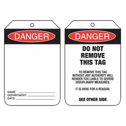 Lockout Tag Code UDT106 - Danger Blank