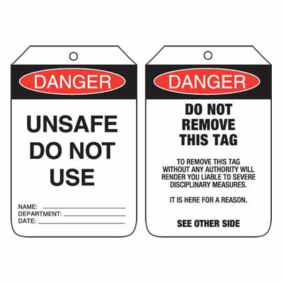 Lockout Tag Code UDT107 - Danger Unsafe Do Not Use