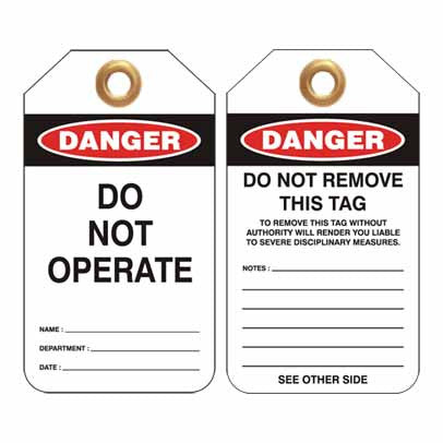 Lockout Tag Code UDT300 - Danger Do Not Operate