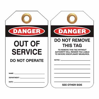 Lockout Tag Code UDT301 - Danger Out Of Service Do Not Operate