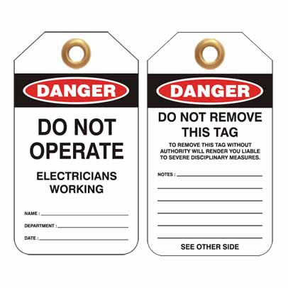 Lockout Tag Code UDT302 - Danger Do Not Operate Electricians Working