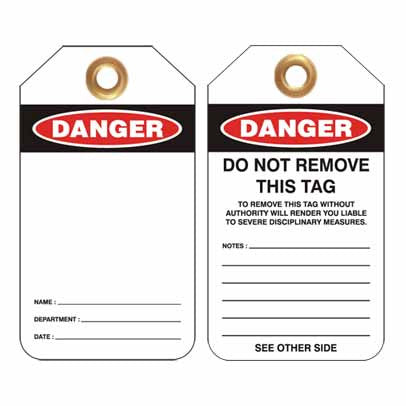 Lockout Tag Code UDT305 - Danger Blank