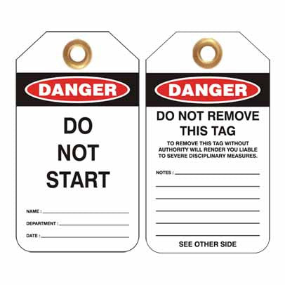 Lockout Tag Code UDT307 - Do Not Start