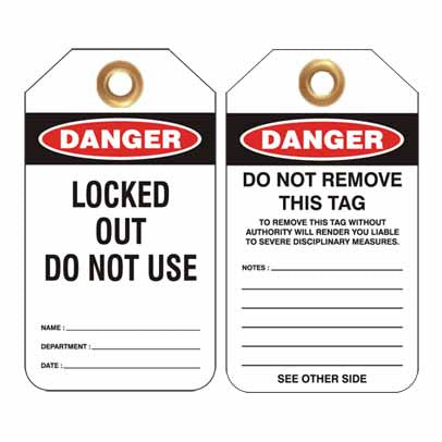 Lockout Tag Code UDT308 - Danger Locked Out Do Not Use
