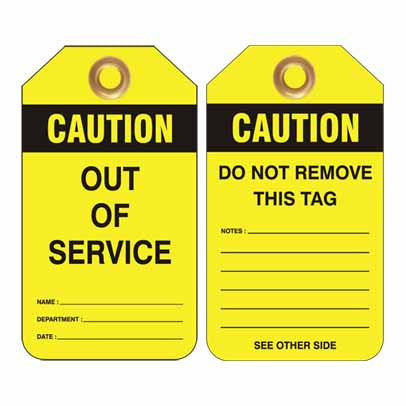 Lockout Tag Code UDT314 - Caution Out Of Service