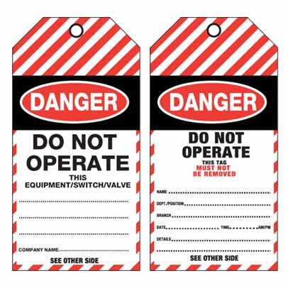 Lockout Tag Tear Proof Double Sided TDT100TP - Danger Do Not Operate