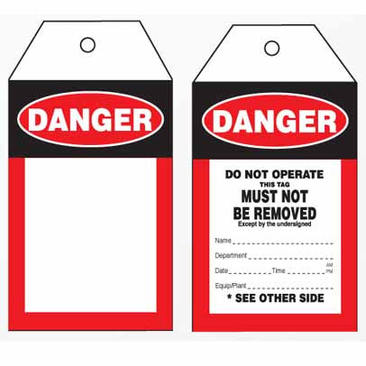 Lockout Tag Tear Proof Double Sided TDT102TP - Danger Do Not Operate This Tag Must Not Be Removed