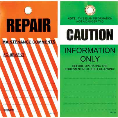 Lockout Tag Tear Proof Double Sided TDT103TP - Caution Repair