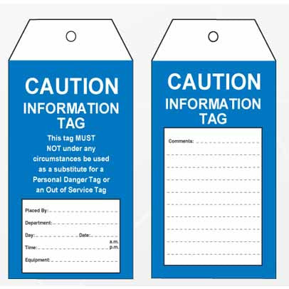 Lockout Tag Tear Proof Double Sided TDT108TP - Caution Information Tag