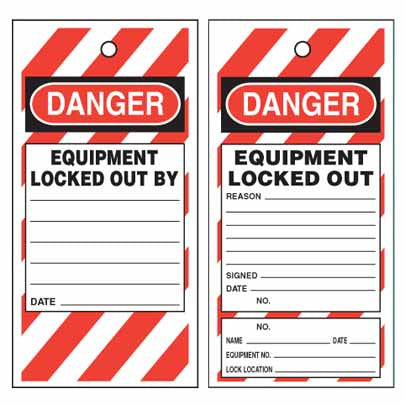 Lockout Tag Tear Proof Double Sided TDT114TP - Danger Equipment Locked Out By
