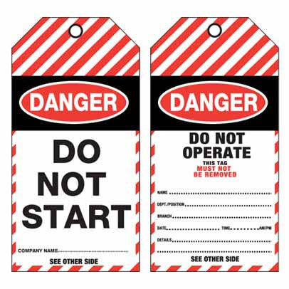 Lockout Tag Tear Proof Double Sided TDT150TP - Danger Do Not Start