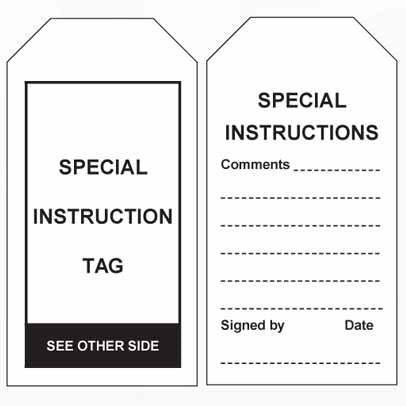 Lockout Tag Tear Proof Double Sided TDT151TP - Special Instruction Tag
