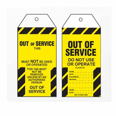 Lockout Tag Tear Proof Double Sided TDT155TP - Out Of Service