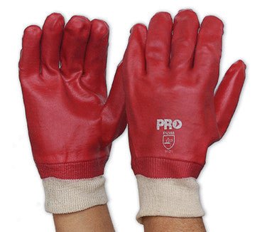 Pro Choice Red PVC Glove with Knitted Wrist Single Dipped PVC27KW