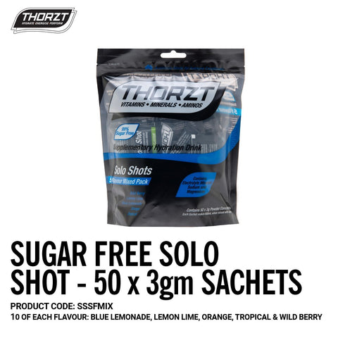 Thorzt Sugar Free Solo Shot 50 x 3gm Sachets (Mixed Flavours) SSSFMIX