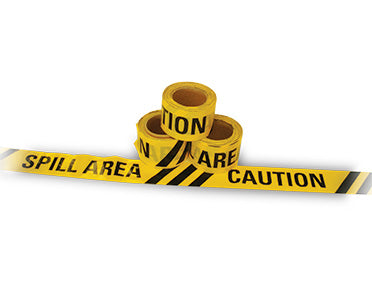 "Barrier Tape ""Caution Spill Area"" Yellow/Black 100m x 75mm (Yellow/Black) TAPEC50X75"