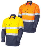 Tru Workwear Lightweight Closed Front 2 Tone Hi Vis Taped Shirt # DS2164T1