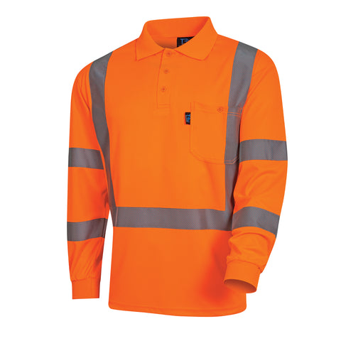 Tru Workwear Hi Vis Micromesh Long Sleeve Polo Shirt cw/ Perforated Reflective Tape TS1850T5