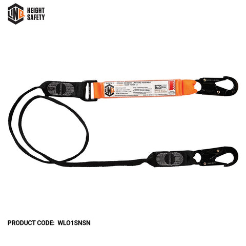 LINQ Shock Absorbing Webbing Lanyard Single Leg # WLO1SNSN