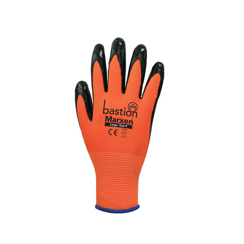 Marxen High Viz Orange Polyester Gloves c/w Black Nitrile Coating Palm BSG34124