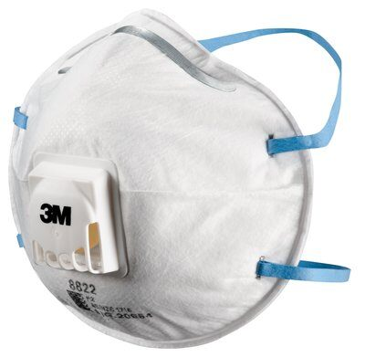 3M™ Cupped Particulate Respirator 8822, P2, Valved (Box 10) WX700900359