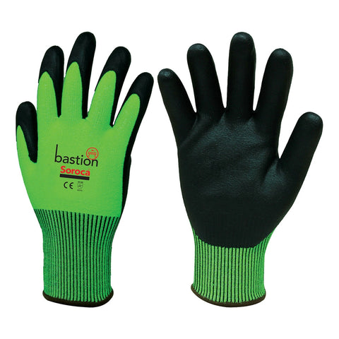 Soroca High Vis Green HPPE Cut 5 Resistant Nitrile Gloves BSG66134