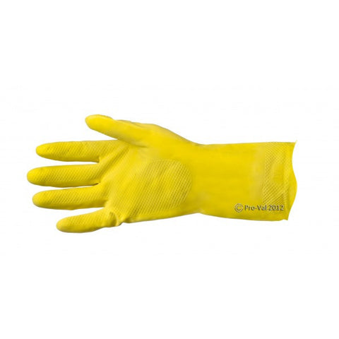 Pro Val Thrifty Yellows Flock-Lined Rubber Gloves