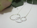 sterling silver asymmetric circles necklace