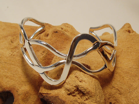 sterling silver barbed bangle organic 925 canterbury