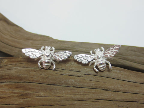 sterling silver honey bee stud earrings nature 925 canterbury