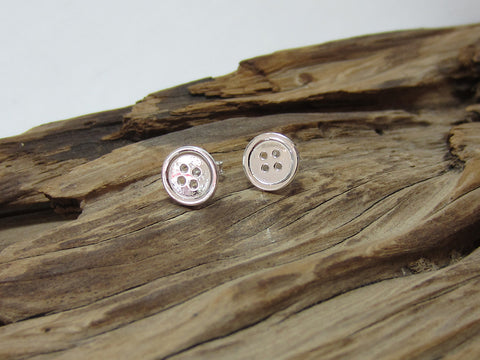 sterling silver button stud earrings 9215 Canterbury