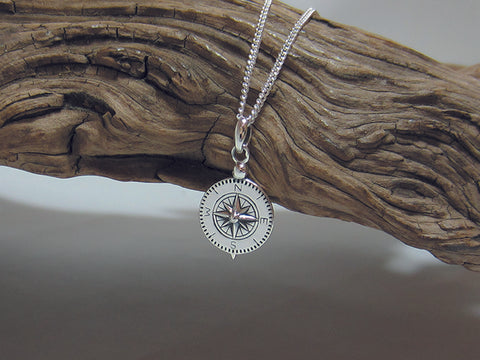 sterling silver compass pendant 925 Canterbury