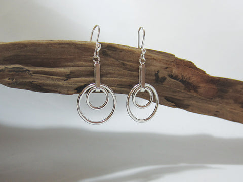 sterling silver concentric circle drop earrings 925 Canterbury