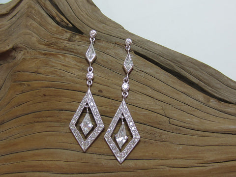 art deco cubic zirconia sterling silver drop earrings 925 canterbury