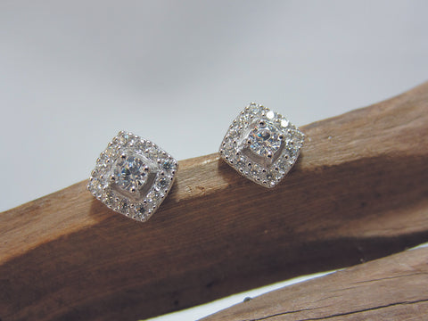 sterling silver pave set cubic zirconia stud earrings 925 Canterbury